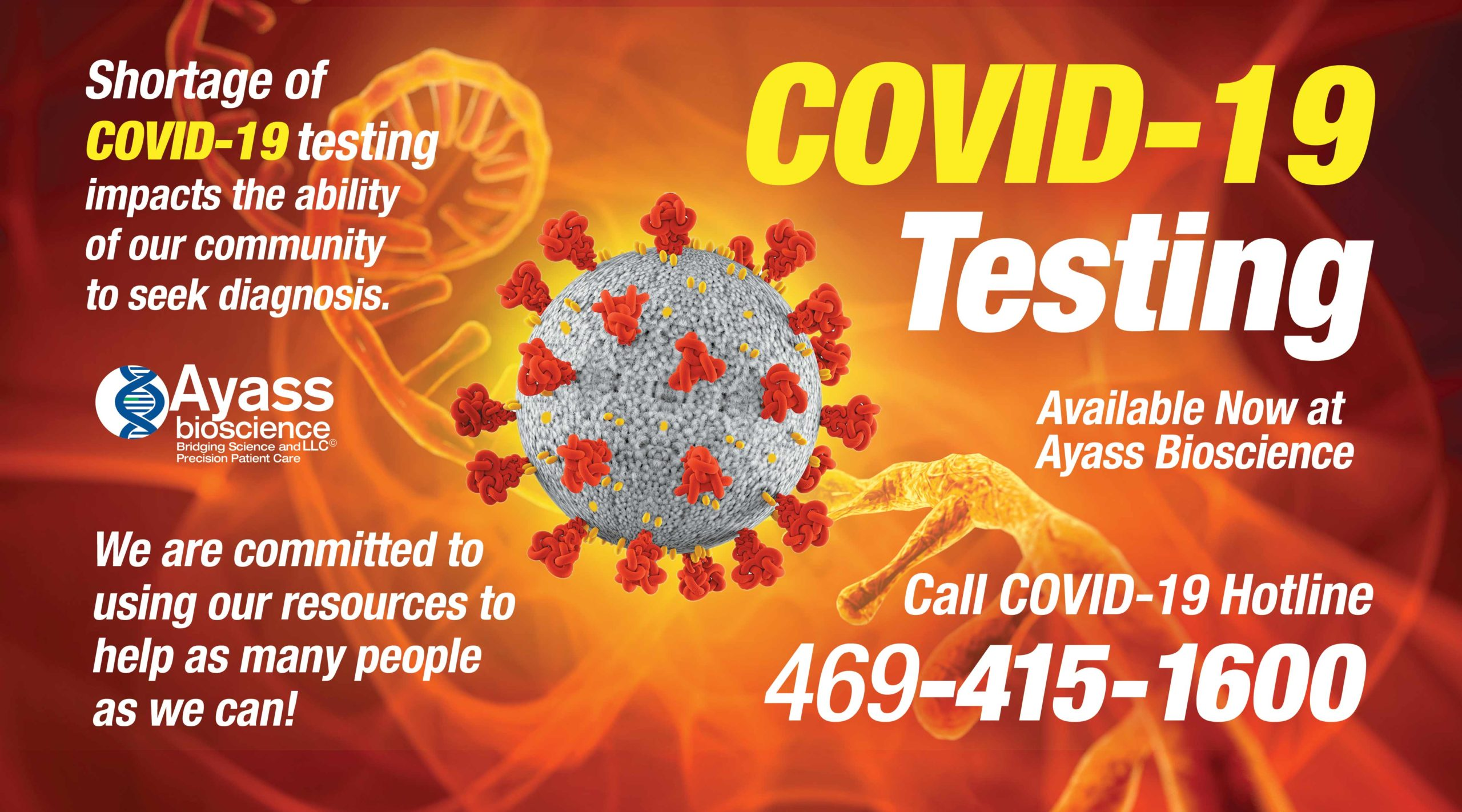 COVID-19 Testing Available Now in Ayass BioScience!